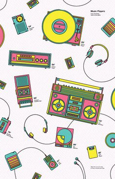 Music Players #history #infographic #retro #headphones #poster #music #boombox