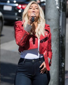 Bebe Rexha The Way I Are Red Leather Jacket (3)