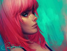 Neon by Charlie Bowater on deviantART #charlie #colour #girl #bowater