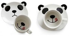 Panda Smile on Your Face Mug Set | Design | Gear #tongue #plate #panda #mug