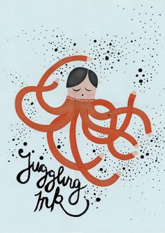 Michelle Carlslund illustration Juggling Ink! #ocean #ink #handlettering #water #nordic #juggling #danish #octopus #arms #sea #scandinavian #cute #children #splash #multitasking