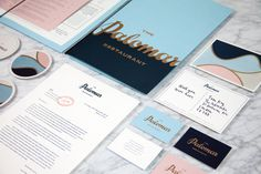 Logotype and print with gold foil detail designed by Here for Soho restaurant The Palomar #the palomar