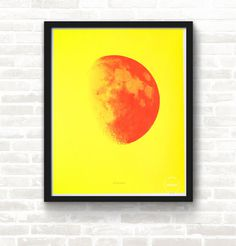 #Moon & Back—Yellow & Orange Screen Print#poster #screenprint #art #studiojanuary