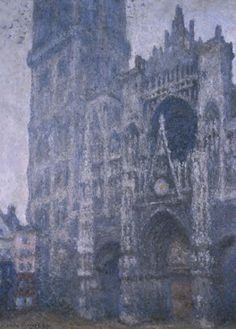 Monet, Facade, cathedral, dusk