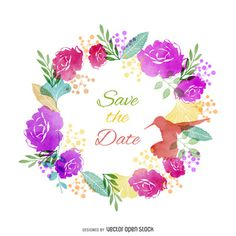 Save the date watercolor label http://bit.ly/29kwqOU