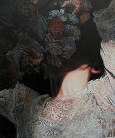 Meghan Howland's New Paintings Examine the Ephemerality of Beauty | Hi Fructose Magazine #portrait #lace #floral #flowers