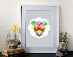Geometric Art Print Wall Art Optical Geo Cloud by littlejoisel #cloud #print #optical #geometric