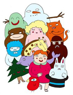 drawing #christmas #illustration #group #animals