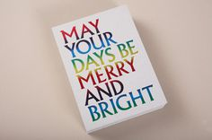 Merry and Bright Holiday Card #rainbow #card #foil stamp #rainbow foil stamp