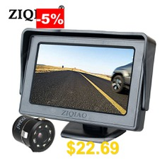 ZIQIAO #4.3 #Inch #HD #Car #Monitor #8 #LED #Light #Waterproof #for #Rear #View #Camera #Kit #- #BLACK