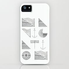 NAVIGATION iPhone & iPod Case #typography #illustration #anchor #patterns #nautical