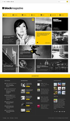 yellow, web design,magazine, blog, layout, concept, block