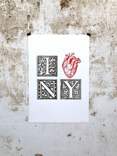 I ♥ NY Poster #heart #loving #coast #city #kitsch #retro #manhattan #typography #illustration #vintage #etching #york #nyc #love #east #new