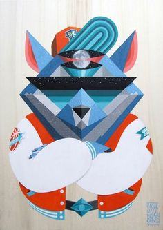 [Pintura] Conozcan a los Low Bros. | GutenVer #bros #geometric #illustration #art #painting #bear #low