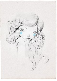 illustrations on Behance #hair #pencil #woman #dog