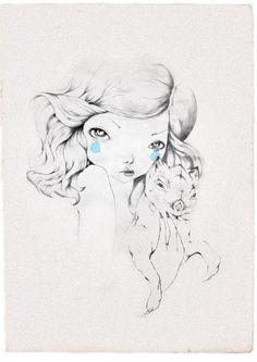 illustrations on Behance #hair #pencil #woman #dog