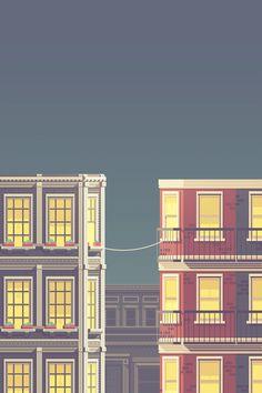 La Telephone Justin Mezzell #mezzell #justin #vector #buildings