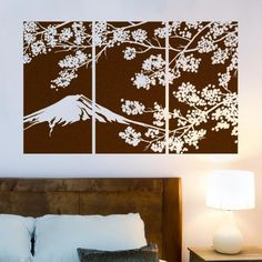 Mountain and Cherry Blossom Triptych #diy #wall art #wall decal #vinyl art