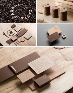 coffee branding wood presentation