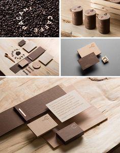coffee branding wood presentation