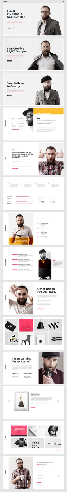MUU - A creative, unique and interactive personal #resume and #portfolio #HTML5 and #Bootstrap Template - White skin. - https://goo.gl/wNT8u