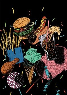 Kristian Hammerstad Illustrator #illustration #food #kristian hammerstad #bitch boys #junk food #fat food #cola