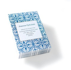 Letterpress Business Cards with Gold foil Frame and Mediterranean Tiles Ornament.