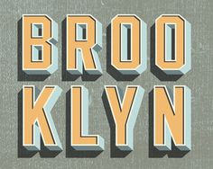 Brooklyn: 41 Reasons Fold Out Map | Two Arms Inc. #type #typography #3d #illustration #texture #retro #brooklyn