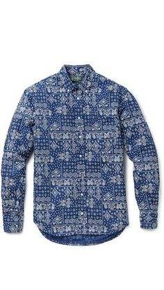 Gitman Vintage Indigo Bandana Shirt #shirt