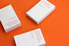 dtc studio #business #serif #card #meta #orange #embossed