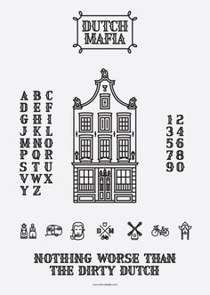 Dutch Mafia: Font and Icons - Graphis #font #mafia #letters #house #graphis #icons #numbers #dutch #typography