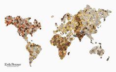 Bedow — Examples of Work — Art Direction, Erik Penser Bankaktiebolag #coins #map