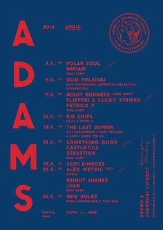 ADAMS Club & Restaurant website. Design: Tony Eräpuro #poster #music #promotion #graphicdesign #club