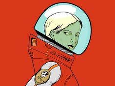 Astronaut –Victor Oliveira #vector #girl #astronaut #helmet #illustration