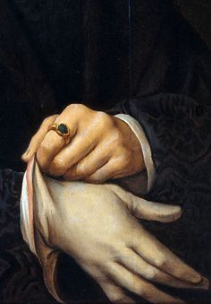 Joos van Cleve, Portrait of Joris Jacobs Vezelaer (detail), 1518 #glove #dexterity #classic #portrait #vintage #painting #hands #portraiture