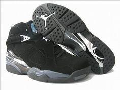 nike female jordan air shoes 8 retro black and grey #shoes