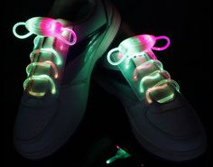 Green-Pink Flammi LED Shoelaces Light Up Shoe Laces