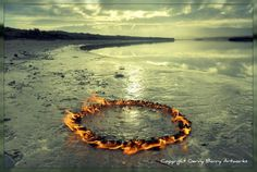 Land water with fire art instalation #land #landscape #photography #art #eco #tone #beach
