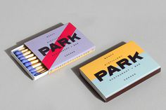 Park Restaurant & Distillery, Glasfurd & Walker, Swiss, Color block, Minimal, Matches