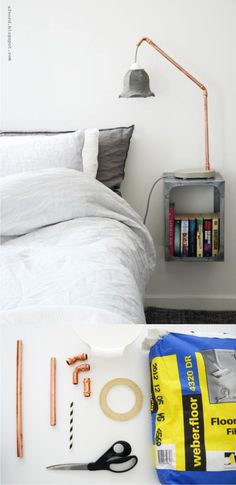 #DIY #concrete #bedside #lamp