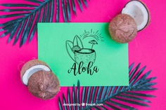 Aloha concept with coconut Free Psd. See more inspiration related to Flower, Mockup, Floral, Party, Summer, Paper, Beach, Sun, Leaves, Tropical, Holiday, Mock up, Coconut, Palm, Decorative, Vacation, Summer beach, Summer party, Aloha, Up, Beach party, Tropical flowers, Season, Concept, Hawaiian, Palm leaves, Composition, Mock, Exotic, Summertime and Seasonal on Freepik.