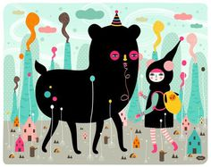 A lovely day in the tiny world by Muxxi, via Behance #illustration #character #muxxi
