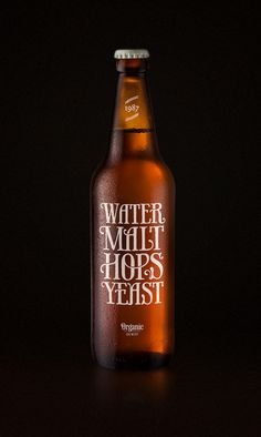 Water Malt Hops Yeast: The Dieline #packaging #beer #organic