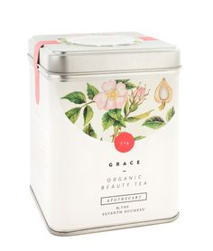 Grace tea - like the floral illustration and the graphic elements on top. Would work well for web. #packaging