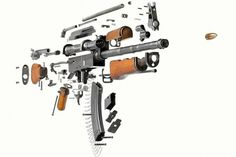 Break apart view of AK47 Gun