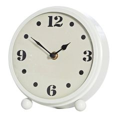 Mavis White Metal Table Clock