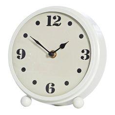 Mavis White Metal Table Clock