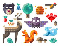 Magic forest #flat #deer #owl #tree #nuts #icon #squirrel #acorn #bear #forest #rabbit