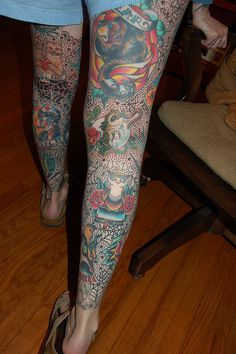 Legs done by various artists. #legs #sleeves #tattoos