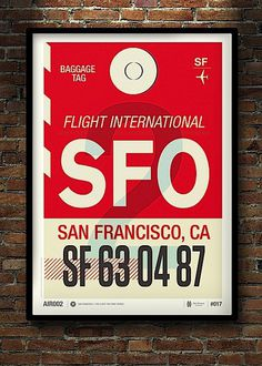 Modern Flight Tag Prints #red #sfo #flight #airplane #print #screen #tag #ca